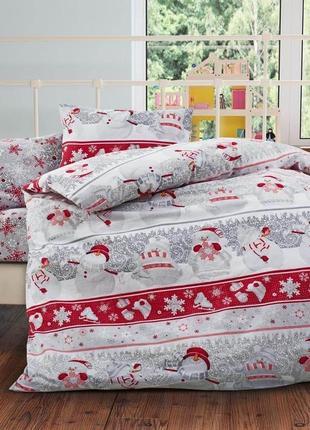 Снеговички - новогоднее турецкое постельное