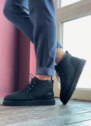 Ugg neumel black🔥мужские угги🔥зимние чёрные кожаные ботинки/уги