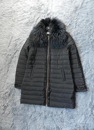 ✅ шикарное пальто евро зима съёмный воротник натуральный мех енот рр 46-48
