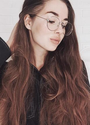 Имиджевые круглые серебряные очки в металлической оправе іміджеві круглі окуляри