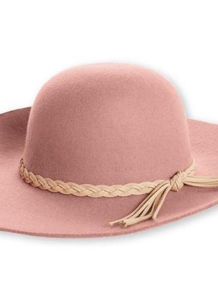 Розовая пудровая шерстяная теплая шляпа сомбреро esmara шляпа с широкими полями тренд 2019