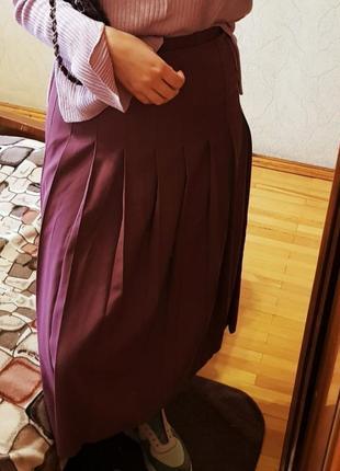 Юбка хлопковая миди в вишневом цвете плиссированнная юбка миди