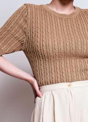 Джемпер с косами кофточка свитер с фактурным вязанием zara