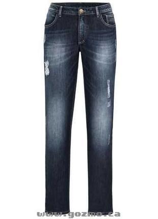 Супер батал джинсы бойфренд с потертостями и эффектом деграде размер 22-24