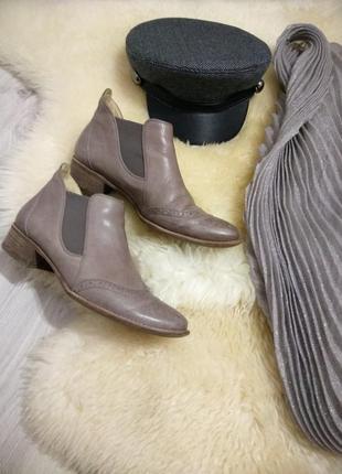 Фирменные шикарные женские кожаные ботинки челси премиум класса. германия. шарф в подарок.