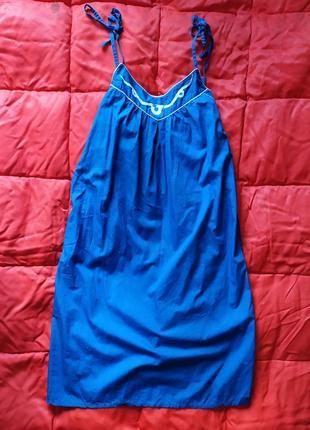 Ярко синее платье трапеция с карманами
