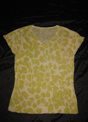 M-l, лёгкая блузка из натурального льна с салатовым принтом
