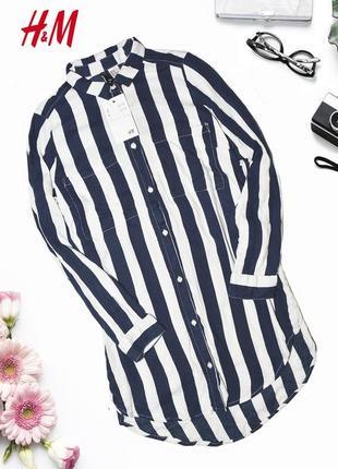 Асимметричное полосатое платье-рубашка с карманами h&m