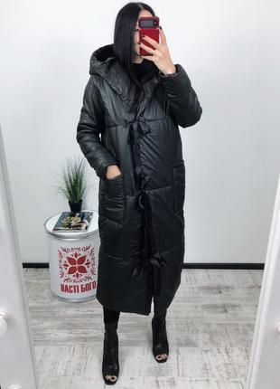 Пухан куртка оверсайз на запаз на завязках зима евро