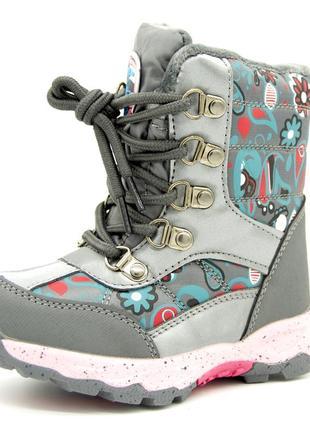 Ботинки для девочки графитовые