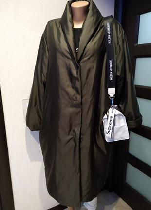 Стильный плащ -халат пальто теплый оверсайз цвет хаки
