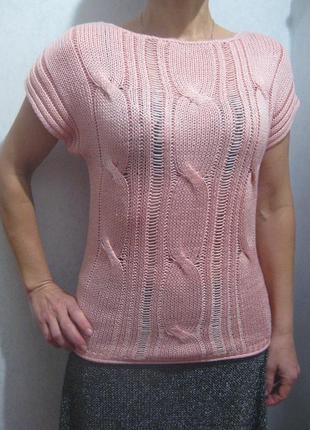 Джемпер розовый laura scott с коротким рукавом акрил