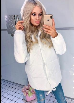 Белая куртка зефирка женская новая ,пуховик белый теплый зимний