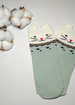 Носки детские, термо махровые, с рисунком кошечка