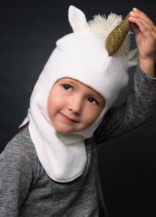 Шапка шлем зимняя тёплая единорог
