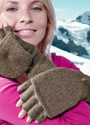 Перчатки-варежки трикотажные, внутри флисовые 2 в 1 тсм чибо германия