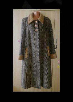Супер скидка! стильное шерстяное пальто в елочку, теплое пальто натуральная шерсть