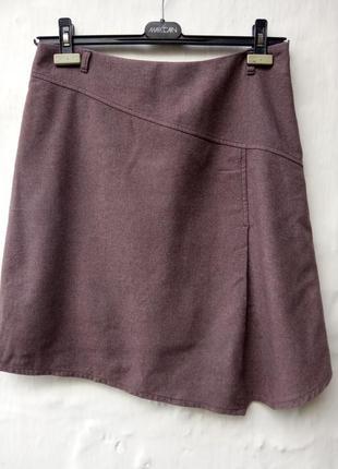 Стильная теплая шерстяная базовая юбка,складка,офисная,асимметричная.
