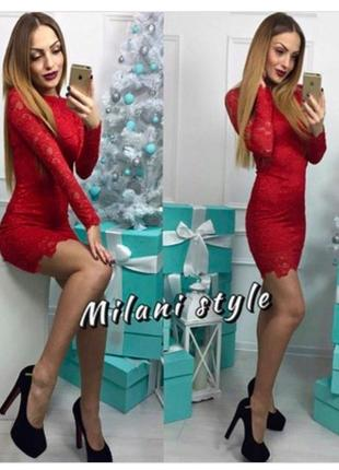 Красивое гипюровое платье футляр на подкладке