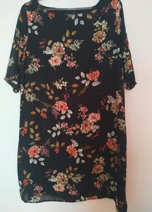 Фирменное шифоновое платье в цветочный принт papaya