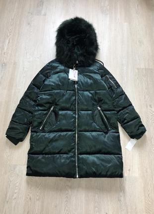 Пуховик женский фирменный брендовый оригинал зелёный хаки теплый пальто