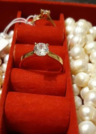 Позолоченное кольцо серьги позолота 585 циркон 18, 19р.