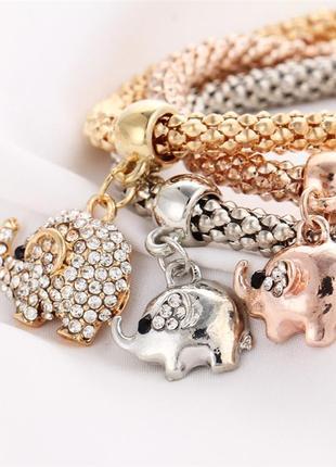 Женский браслет 3 в 1 с шармами слон серебро золото медь