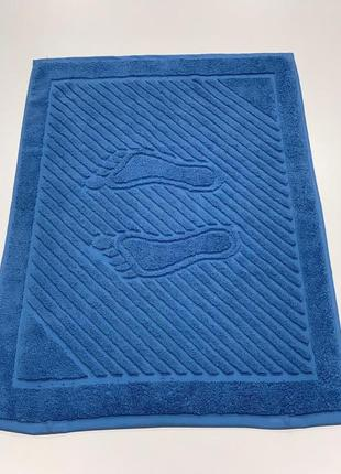 Полотенце для ног  синее махровое