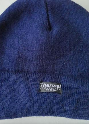 Тёплая термошапка зимняя thermal insulation с утеплителем thinsulate 40 grам
