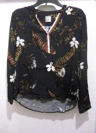 Блуза рубашка culture чёрная разноцветная цветочный принт вискоза