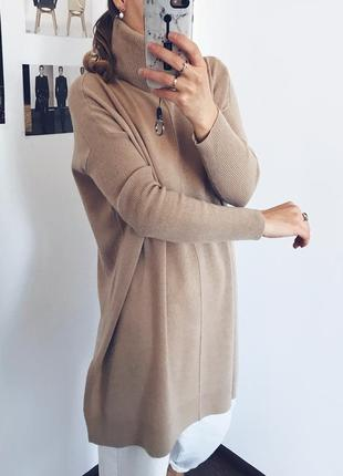 100% шерсть кашемир люксовый бежевый удлиненный свитер джемпер l.k.bennett