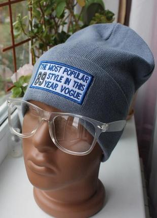 Новая стильная шапка бини, серая