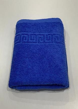 Полотенце банное махровое синее новое