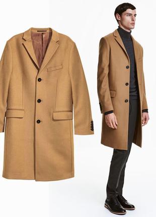 Мужское пальто шерстяное коричневое бежевое классическое жакет класичне чоловіче