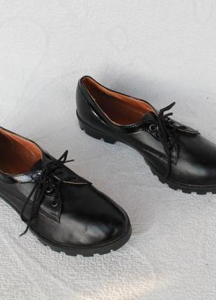Кожаные туфли на шнурках, оксфорды 37 размера