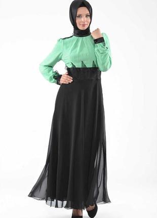 Платье абая aramiss fashion длинное шифон чёрное бирюзовое мятное голубое выпускное