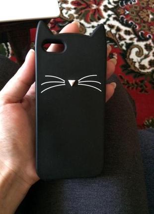 Чёрный резиновый чехол кейс котик на айфон 5 5s 5c