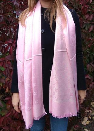 Новый красивый палантин с люрексом, розовый