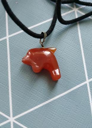 Подвеска кулон дельфин сердолик полудрагоценный камень