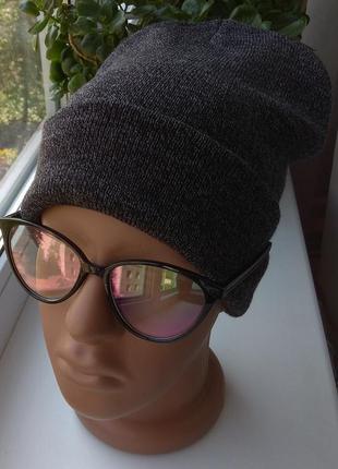 Новая стильная шапка бини, темно-серая