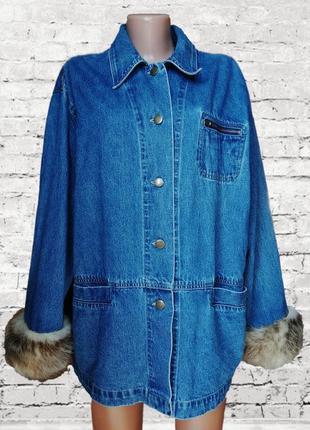 Хит 2019! джинсовая куртка с натуральным мехом /джинсовка / удлиненная / оверсайз  levis