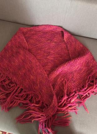 Очень тёплый вязаный шарф накидка шаль