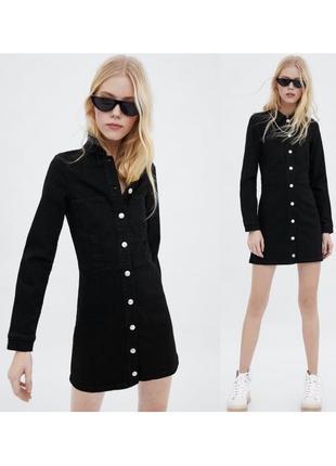 Новое чёрное джинсовое платье zara