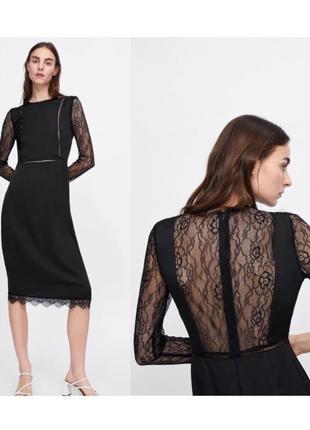 Новое чёрное платье миди zara