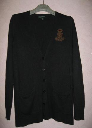 Ralph lauren кардиган шелк/кашемир цвет темно-синий почти черный
