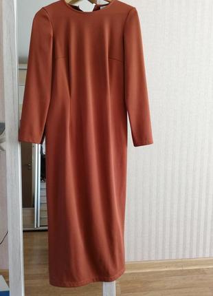 Платье охра оранжевое по фигуре футляр