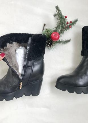 Кожаные зимние ботинки на натуральной цигейке