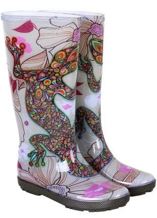 Женские резиновые сапоги demar hawai lady exclusive. яркий рисунок