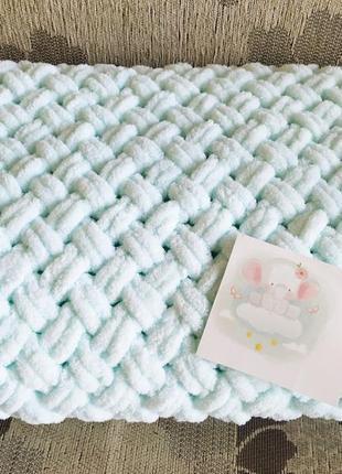 Детский вязанный плед в кроватку, коляску,конверт на выписку,одеяло,на крещение