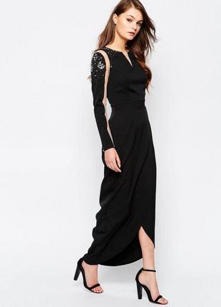 Роскошное вечернее макси платье расшитое бисером с разрезом asos p.10